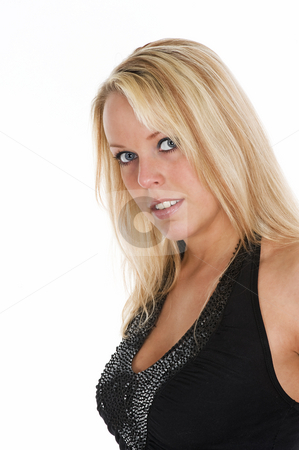 Portrait of a beautiful blond blue eyed girl stock photo, Portrait of a beautiful blond blue eyed girl, isolated on white background by Flemming Jacobsen