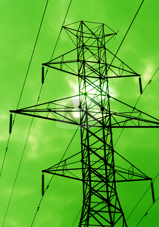 Green Power stock photo, The silhouette of power lines agains a green sky. by Chris Hill