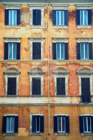 Italian facade stock photo, Vintage windows of an old italian building by Laurent Renault
