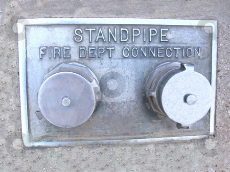 Standpipe on an high-rise   stock photo, The standpipe on an high-rise in town down for the fire department. by Horst Petzold