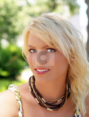 Pretty young blond teen girl outdoor portrait stock photo, Portrait of pretty young blond teen girl by Jeff Cleveland