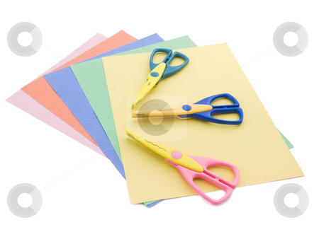 Scrapbooking supplies stock photo, Scrapbooking supplies on a white background by John Teeter