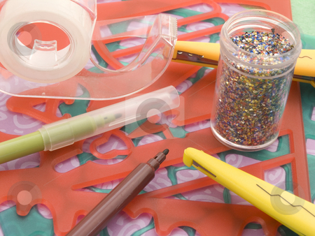 Scrap Booking Materials stock photo, Scrap booking material close up with glitter by John Teeter