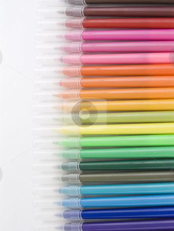 Rainbow of Pens stock photo, Rainbow of many different colored marker pens by John Teeter