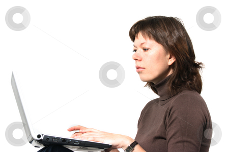 Computer user stock photo, Casual young woman using computer isolated over white by Natalia Macheda