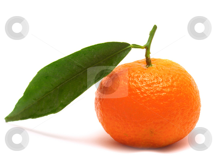 Tangerine with one leaf stock photo, Tangerine with one leaf isolated over white by Natalia Macheda