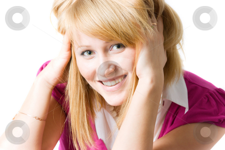 Smiling young woman stock photo, Smiling young woman isolated over white by Natalia Macheda
