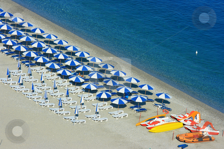 Scylla beach with catamarans stock photo, Aerial view of Scylla beach with catamarans by Natalia Macheda