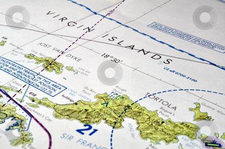Map of the Virgin Islands stock photo, Trip planning on map of the Virgin Islands. by Fernando Barozza