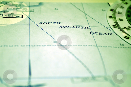 Air navigation: map of the South Atlantic Ocean stock photo, Air navigation chart: map of the South Atlantic Ocean. by Fernando Barozza