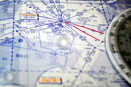 Air navigation chart (Argentina) stock photo, Air navigation chart: airways and waypoints in the Cordoba area. by Fernando Barozza