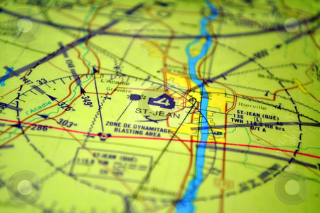 Air navigation, map stock photo, Air navigation chart: Saint Jean area (Quebec) by Fernando Barozza