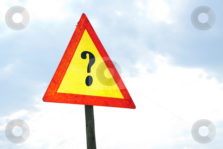 Road warning sign - Question stock photo, Road sign - question by Chris Alleaume