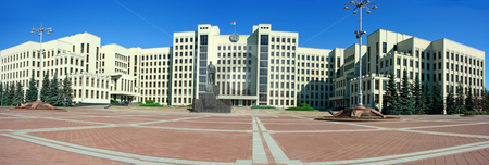 Palace of government in Minsk stock photo, Minsk government palace with Lenin statue and pavemented square in front of it by Natalia Macheda