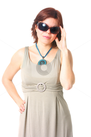 Fashinable young woman stock photo, Fashinable young woman with black sunglasses isolated on white by Natalia Macheda