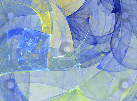 Geometrical fantasy stock photo, Abstract fractal illustration in yellow-blue gamma by Natalia Macheda