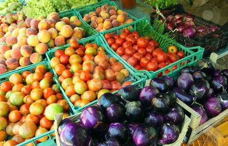 Peasant mediterranean market stock photo, Peasant mediterranean market with biological fruits and vegetables by Natalia Macheda