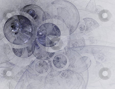 Abstract fractal circles stock photo, Computer-generated background of abstract fractal circles of neutral color by Natalia Macheda