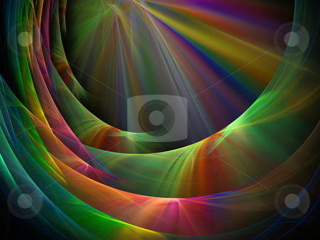 Fractal rainbow abstraction stock photo, Abstract fractal illustration of wavy rainbow pattern by Natalia Macheda