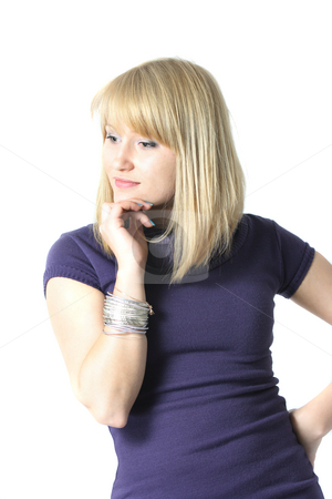 Elegant blond woman isolated on white stock photo, Elegant blond woman isolated on white by Natalia Macheda