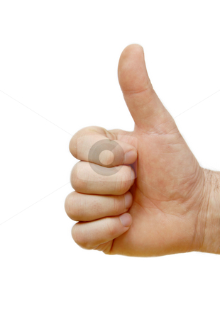 Super sign stock photo, Man hand isolated showing sign super by thumb up by Julija Sapic