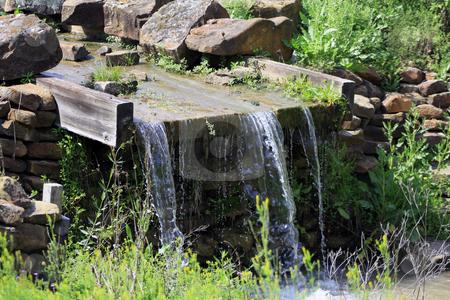 Waterfall stock photo, Man-made water fall by Marburg