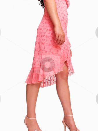 Tall young girl.  stock photo, An pretty girl in her pink dress on an white background  missing her head. by Horst Petzold