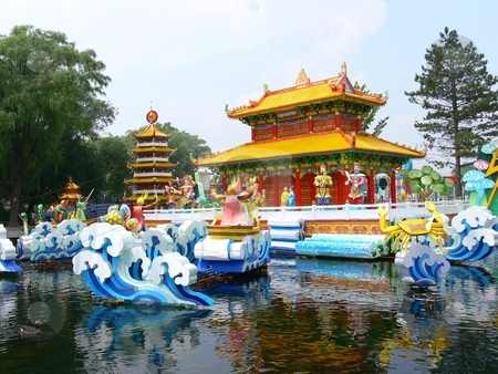 Chinese festival. stock photo, An Chinese festival of the island from Ontario Place in Toronto. With the reflection in the water. by Horst Petzold