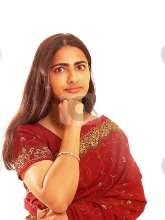 Portrait of Indian lady. stock photo, Adult, east-Indian, attractive, beautiful, red, dress, long, hair, east, Indian, brunette, costume, diversity, elegance, exotic, expression, fashion, female, girl, glamorous, hot, India, jewel, lady, lovely, middle, miss, model, natural, person, portrait, pretty, style, woman, over, white, background, care, happy, romantic, smile, soft focus, by Horst Petzold