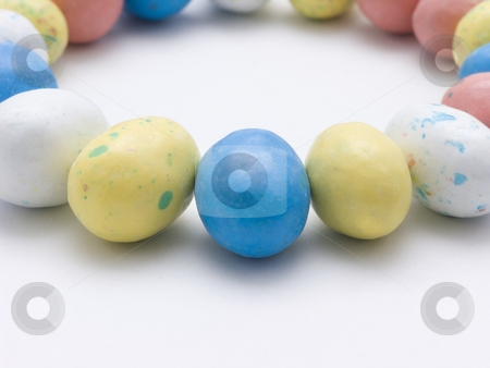 Candy Egges stock photo, Candy Eggs in a circle on white background by John Teeter