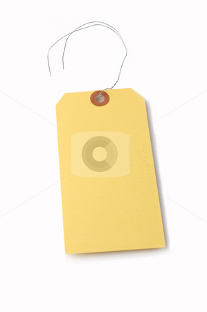 Hangtag stock photo, Hanging price tag isolated on white by Jonathan Hull