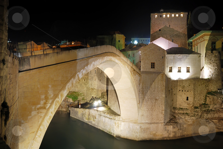 Mostar Old Bridge at Night stock photo, Old Bridge in Mostar at night reconstructed in 2003 after the original from 1556. by Denis Radovanovic