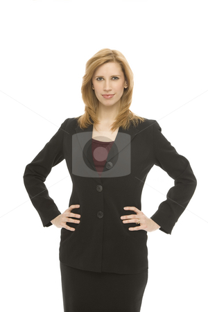 Businesswoman with confidence stock photo, A businesswoman in a suit stands confidently by Rick Becker-Leckrone