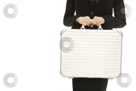 Businesswoman with briefcase stock photo, Businesswoman in a suit holds a metal briefcase by Rick Becker-Leckrone