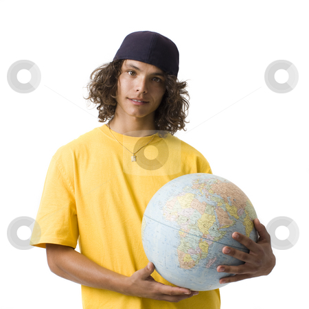 Boy with globe stock photo, Teen boy holds a globe by Rick Becker-Leckrone