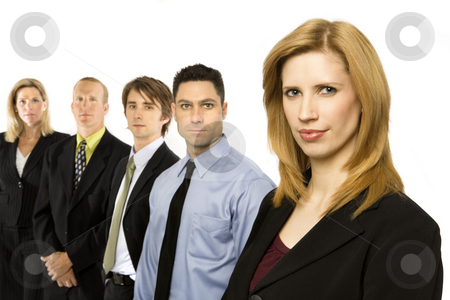 Business people stand together stock photo, Five business people stand together by Rick Becker-Leckrone