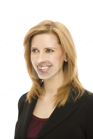 Business woman stock photo, Business woman in a suit against a white background by Rick Becker-Leckrone