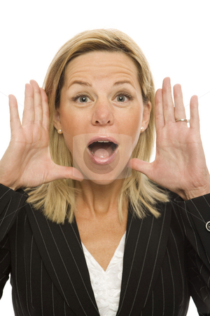 Businesswoman yells stock photo, Businesswoman in a suit gestures with her hands and yells by Rick Becker-Leckrone