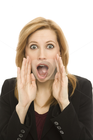Businesswoman yells stock photo, Businesswoman shouts and gestures by Rick Becker-Leckrone