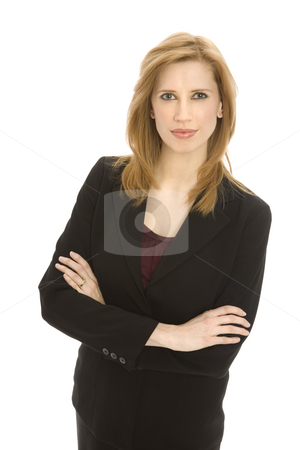 Businesswoman crosses her arms stock photo, Businesswoman in a suit crosses her arms in confidence by Rick Becker-Leckrone