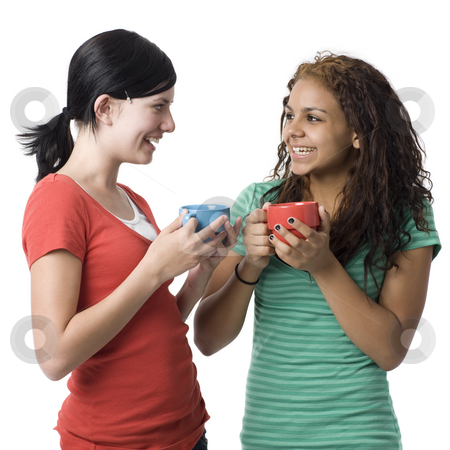 Girls with cups stock photo, Two girls with cups smiles by Rick Becker-Leckrone