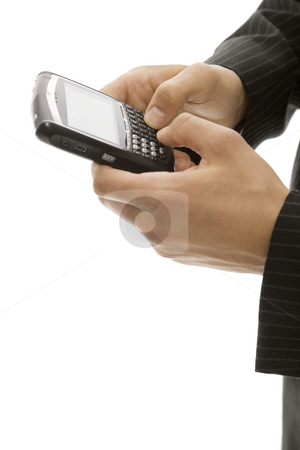 Businessman uses cell phone stock photo, Businessman uses his thumbs to text on a phone by Rick Becker-Leckrone