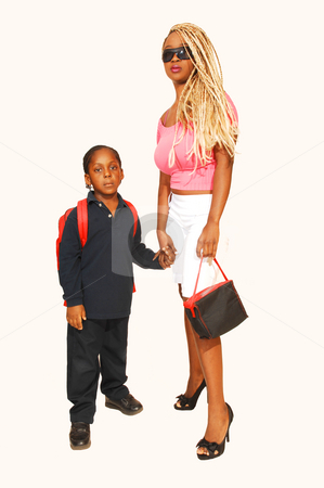 Brother and sister. stock photo, Jamaican brother and sister shooing how to go to school at an photo session  in the studio for white background. by Horst Petzold
