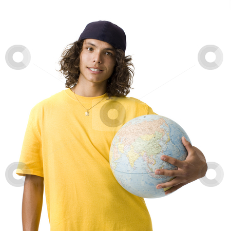 Boy with globe stock photo, A teenage boy holds a globe and smiles by Rick Becker-Leckrone