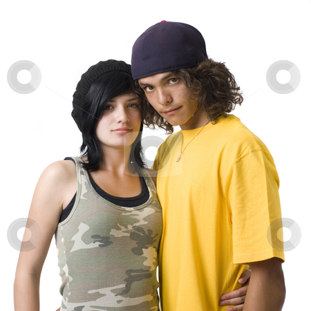 Teen couple stock photo, Teen couple against a white background by Rick Becker-Leckrone