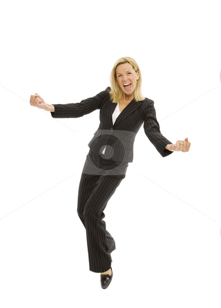 Businesswoman with excitement stock photo, Businesswoman in a suit dances with excitement by Rick Becker-Leckrone