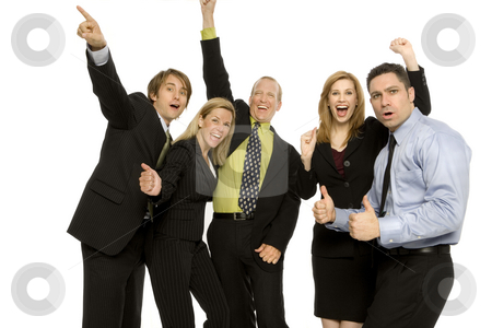 Business people express excitement stock photo, Business people gesture excitement together by Rick Becker-Leckrone