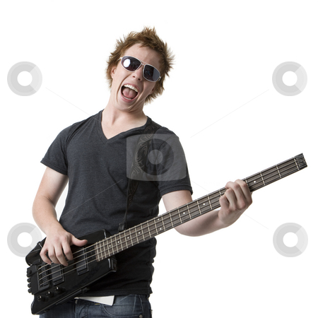 Rude rocks out with guitar stock photo, A dude in sunglasses rocks out with an electric bass guitar by Rick Becker-Leckrone
