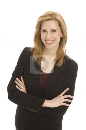 Businesswoman with confidence stock photo, Businesswoman in a suit folds her arms with confidence by Rick Becker-Leckrone