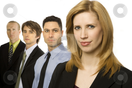 Business people stand together stock photo, Four business people stand together by Rick Becker-Leckrone